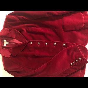 Talbots deep red velvet blazer